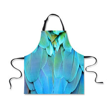 Blue macaw feathers kitchen apron