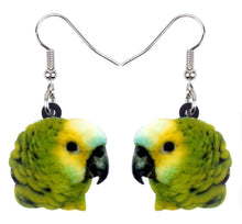 Blue-front Amazon parrot pierced drop earrings