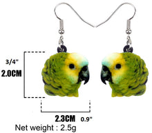 Blue-front Amazon parrot acrylic pierced earrings - size