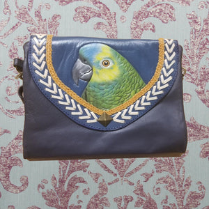 Hand-tooled, handpainted leather clutch purse wallet of a Blue-fronted Amazon - in blue leather