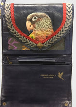 Partially open hand-tooled, hand-painted leather navy blue pineapple conure women's clutch purse wallet
