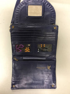 Interior of blue leather Pineapple conure wallet clutch purse