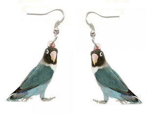 Blue mutation Black-masked lovebird pierced earrings