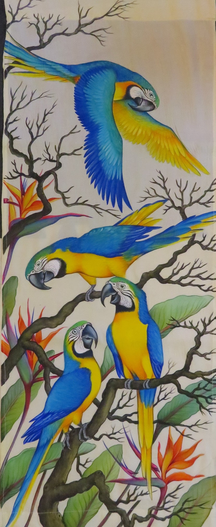 Blue & Gold Macaws original acrylic painting on rayon - no framing needed!