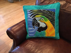 Blue & Yellow macaw handpainted batik pillow cover