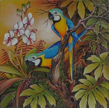 Blue & Yellow Macaws original acrylic on canvas painting - in progress