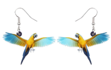 Flying Blue & Gold Macaw acrylic pierced earrings