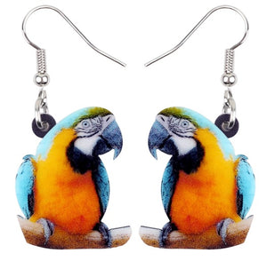 Cute perching Blue & Gold macaw pierced earrings
