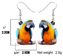 Blue & Gold macaw fun acrylic pierced earrings - size chart