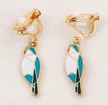 Clip-on Enamel Quaker Parrot Earrings - blue mutation