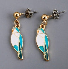 Enamel Quaker Parrot Monk Parakeet Pierced Earrings