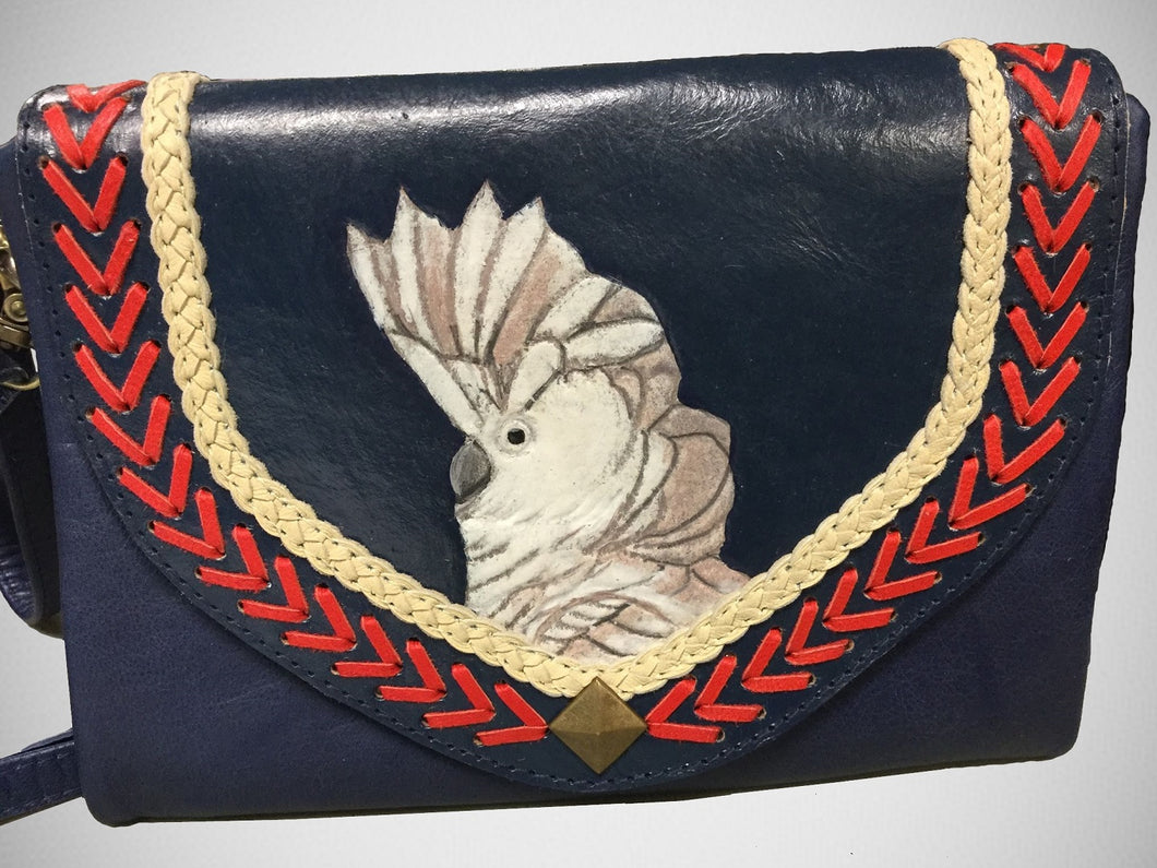 Umbrella cockatoo parrot hand-tooled, hand-painted leather clutch wallet purse in navy blue