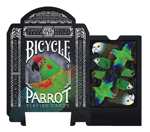 Limited Edition Bicycle Parrot Playing Cards featuring 200 parrot species from around the world
