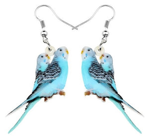 Cute blue budgie pairs pierced drop earrings