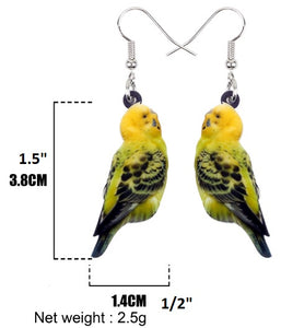 Fun budgie acrylic pierced earrings - size chart