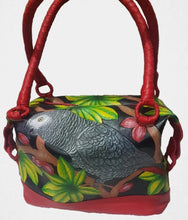 Congo African Grey hand-tooled, handpainted leather bag
