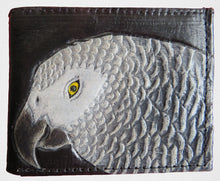 African Grey parrot hand-tooled, hand-painted men's bi-fold leather wallet