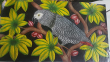 close-up of the African Grey hand-tooled hand-painted leather panel for the purse