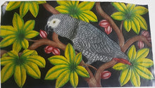 Side panel of the hand-tooled, hand-painted Congo African Grey parrot leather bag