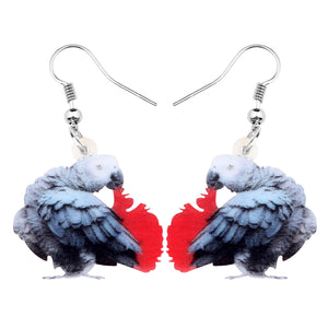 Congo African Grey Parrot Pierced Drop Earrings