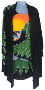 Black-headed caique hand-painted batik jacket & tank-top