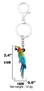 Catalina Macaw parrot keyring keychain gift - with dimensions