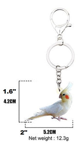 Lutino cockatiel parrot key chain keyring measurements