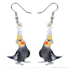 Grey (normal) cockatiel parrot pierced earrings.
