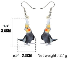 Cute normal grey cockatiel pierced earrings & measurements