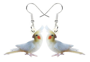 Lutino cockatiel parrot pierced earrings.