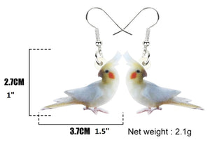 Cute lutino cockatiel pierced earrings & measurements