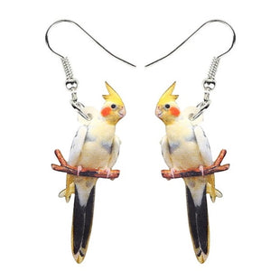 Pied cockatiel parrot pierced drop earrings