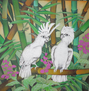 Leadbeater Cockatoo Original Painting Acrylic on Canvas - unfinished