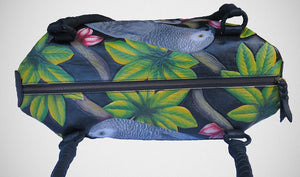 Top view of the African Grey Leather Bag