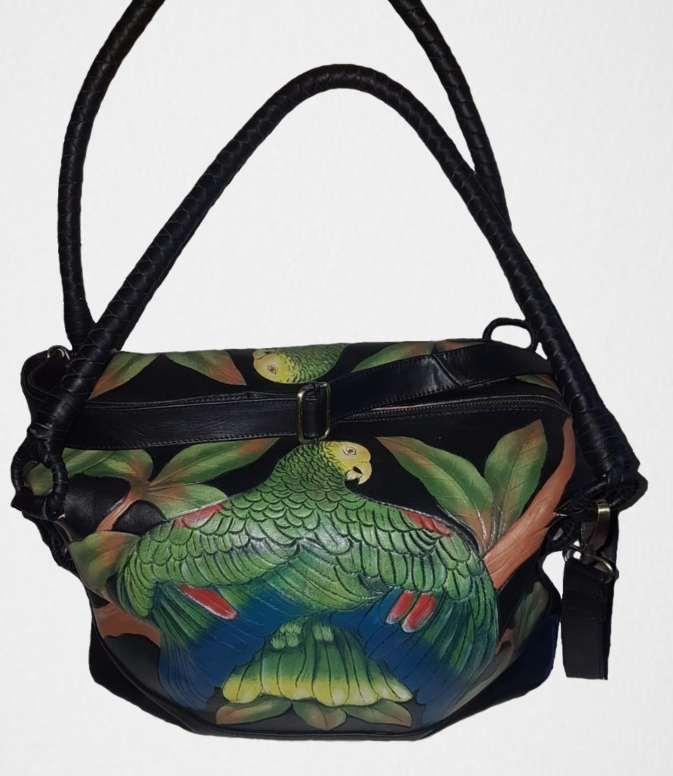 Hand-tooled, hand-painted Double-yellow headed Amazon leather bag