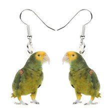 Double yellow-headed Amazon parrot pierced drop earrings