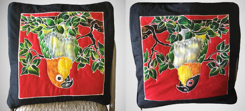 White-bellied and Black-headed Caique batik pillow covers