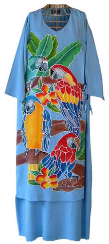 Hand-painted batik dress featuring 4 gorgeous & brightly colored macaws.