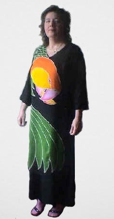 Caique parrot lovely hand-painted batik dress