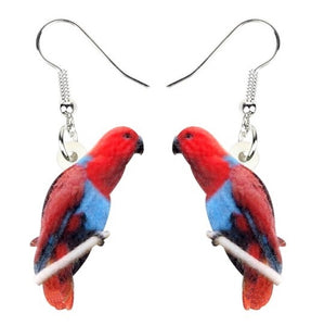 Female Eclectus Parrot pierced drop earrings