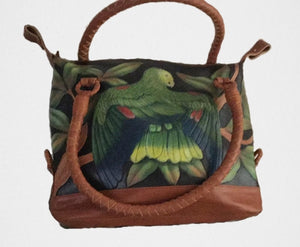 Hand-tooled, hand-painted Double-yellow headed Amazon parrot leather purse
