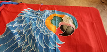 Blue-throated macaw hand-painted batik sarong pareo