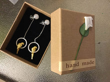 Hand-made sterling silver & 18k gold plated 3 in 1 combo set: drop earrings, stud earrings & pendant