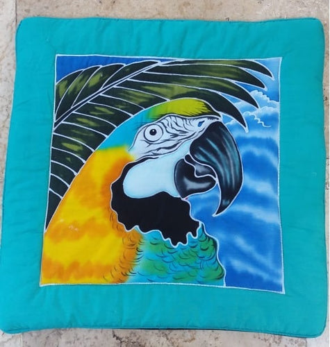 Finished Blue & Gold macaw hand-painted batik pillow cover.