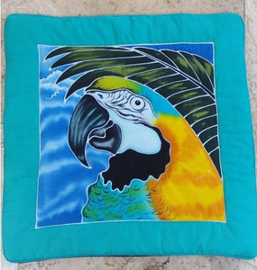 Blue & Yellow macaw hand-painted batik pillow cover for home decor