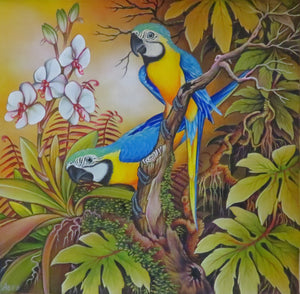 2 Blue & Gold Macaws - Original Art - Acrylic on Canvas