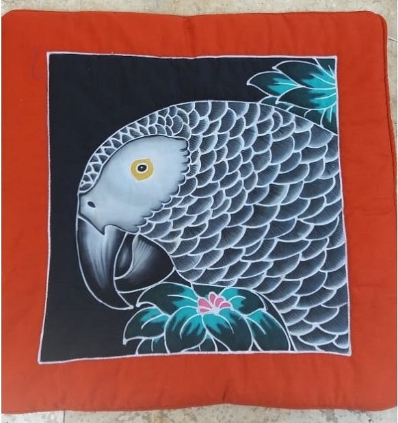 African Grey parrot hand-painted batik pillow cover