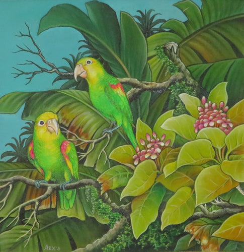 Double Yellow Amazon parrots original acrylic on canvas painting