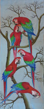 Greenwing Macaw parrots original wall-hanging - no framing needed
