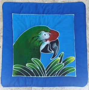 Military Macaw parrot hand-painted batik pillow cover